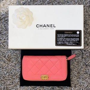 Chanel boy medium zipper wallet